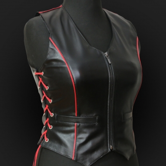 Leather Vest M05 red