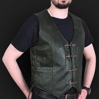Leather vest m01 k olive