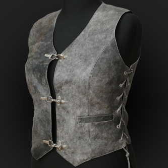 Leather Vest M05 grey