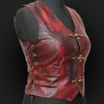 Leather Vest M05 rubyred