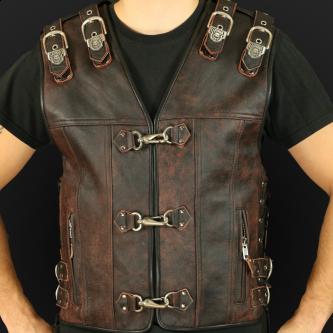 Leather vest m14 sa brown