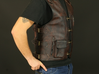 Leather vest M17 brown