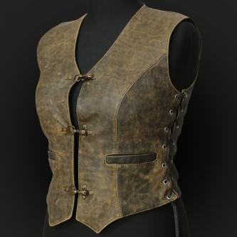 Leather Vest M05 olive
