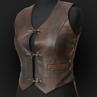 Leather Vest M05k brown