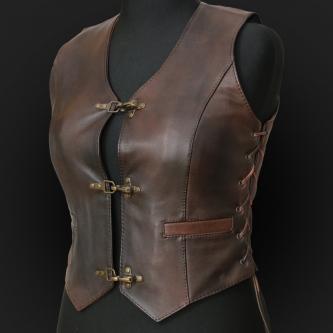 Leather Vest M05k brown