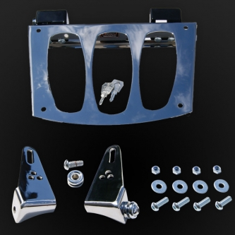 Quick relase motorcycle frame for roll bag chrome colour